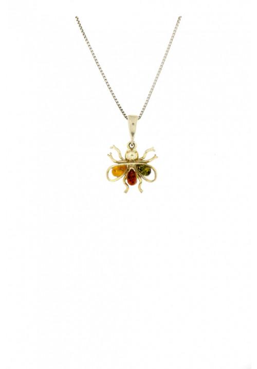 Collana con ciondolo in ambra baltica naturale a forma di insetto - Argento 925
