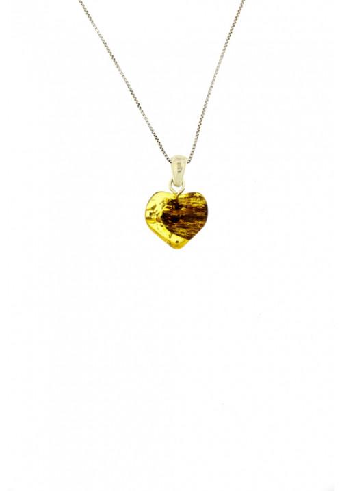 Collana con ciondolo a forma di cuore in ambra baltica naturale color miele con striature nere - Argento 925