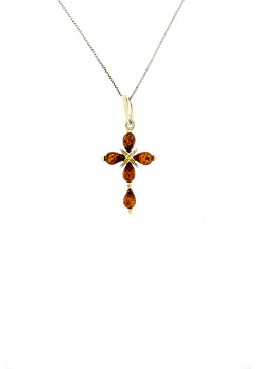 Collana con ciondolo a forma di croce in ambra baltica naturale color miele - Argento 925