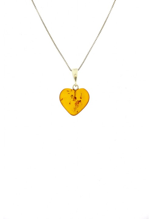 Collana con ciondolo a forma di cuore in ambra baltica naturale color miele - Argento 925