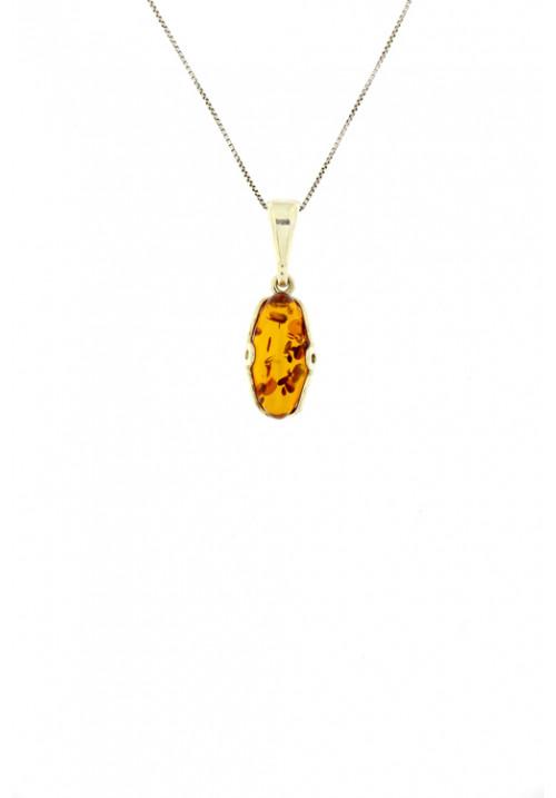 Collana con ciondolo in ambra baltica naturale color miele dalla forma astratta - Argento 925