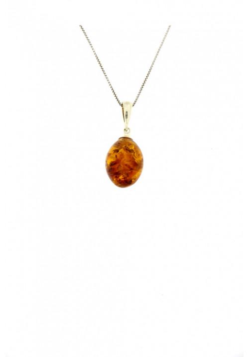 Collana con ciondolo a goccia bombata in ambra baltica naturale color miele con montatura a giorno - Argento