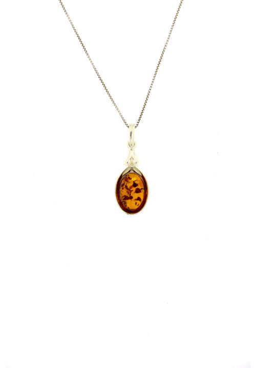 Collana con ciondolo in ambra baltica naturale del color miele - Argento 925