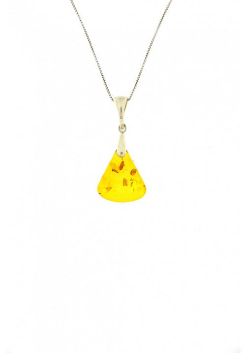 Collana con ciondolo a forma di triangolo in ambra baltica naturale color miele - Argento 925