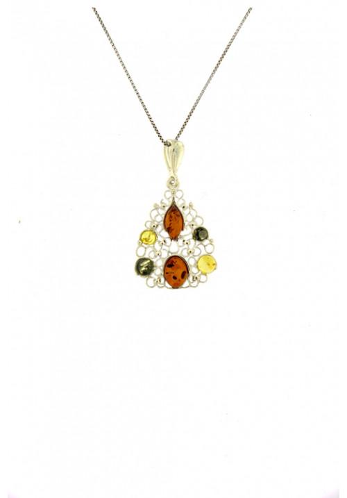 Collana con ciondolo a forma di goccia con spole di ambra baltica naturale - Argento 925