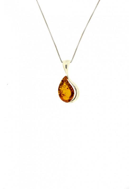 Collana a goccia con ciondolo in ambra baltica naturale con sfumature color miele - Argento 925