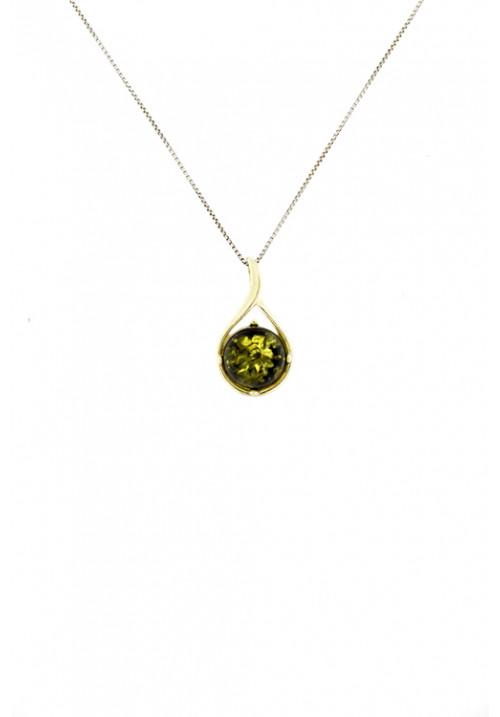 Collana con ciondolo a forma semisferica in ambra baltica naturale color verde - Argento 925