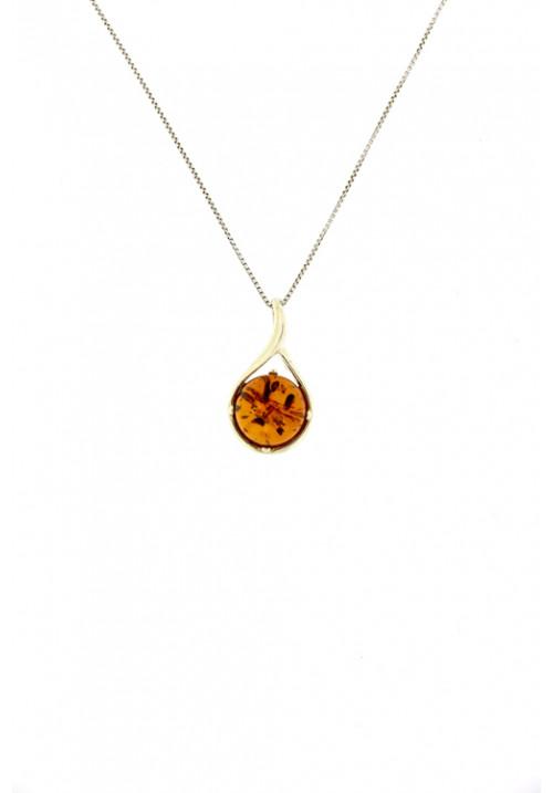 Collana con ciondolo a forma semisferica in ambra baltica naturale color miele - Argento 925