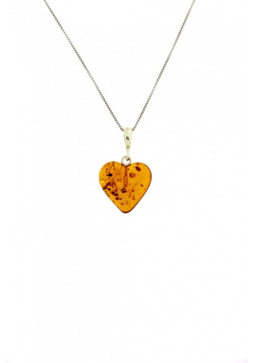 Collana con ciondolo a forma di cuore in ambra baltica naturale color miele - Argento