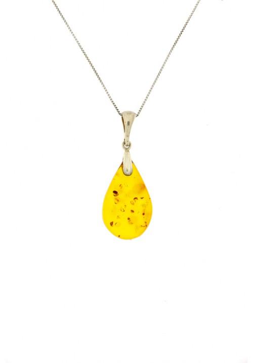 Collana con ciondolo a forma astratta in ambra baltica naturale color miele con montatura a giorno - Argento
