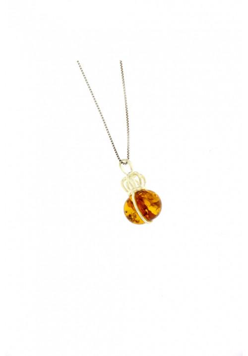 Collana con ciondolo a forma di corona in ambra baltica naturale color miele - Argento 925