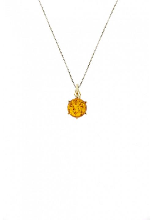 Collana con ciondolo a forma sferica in ambra baltica naturale color miele - Argento 925