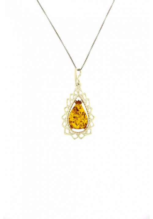 Collana con ciondolo a goccia di ambra baltica naturale color miele con cornice in Argento
