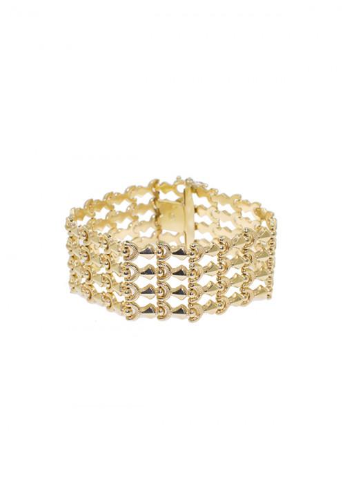 Bracciale Donna Oro 18 Kt -  Semi Rigido alto in Oro Giallo