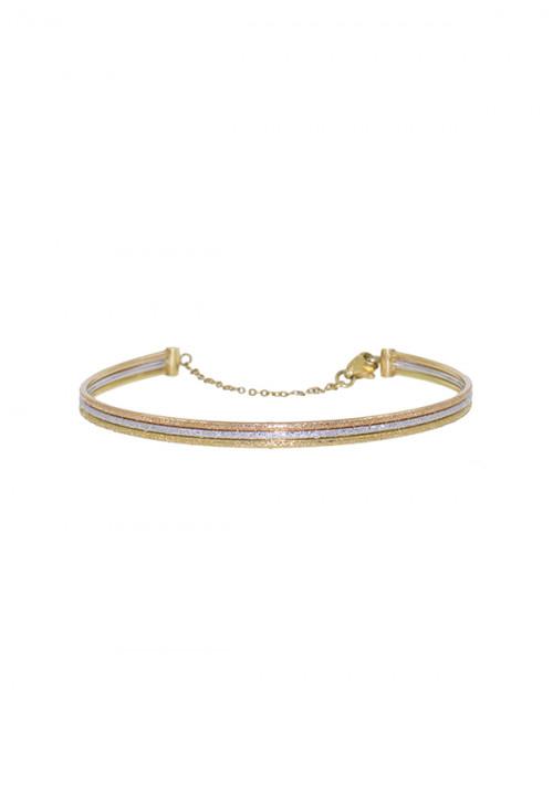 Bracciale Donna Oro 18 Kt -  Rigido Oro Bianco, giallo e rosa