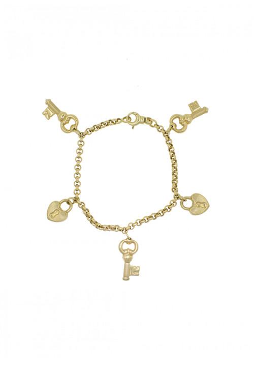 Bracciale Donna Oro 18 Kt -  A catena con charms cuori e chiavi