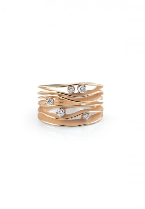 Annamaria Cammilli - Anello in Oro 18 Kt con 5 Diamanti | Dune Collection