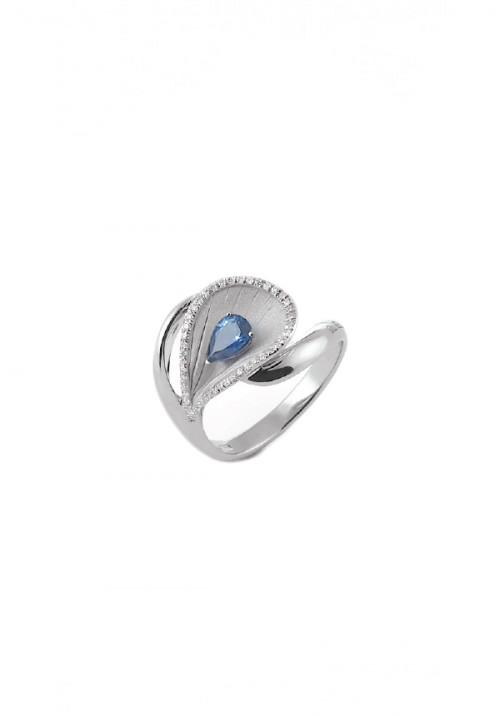 Annamaria Cammilli  - Anello in Oro 18 Kt con diamanti e zaffiro | Premier Color Collection