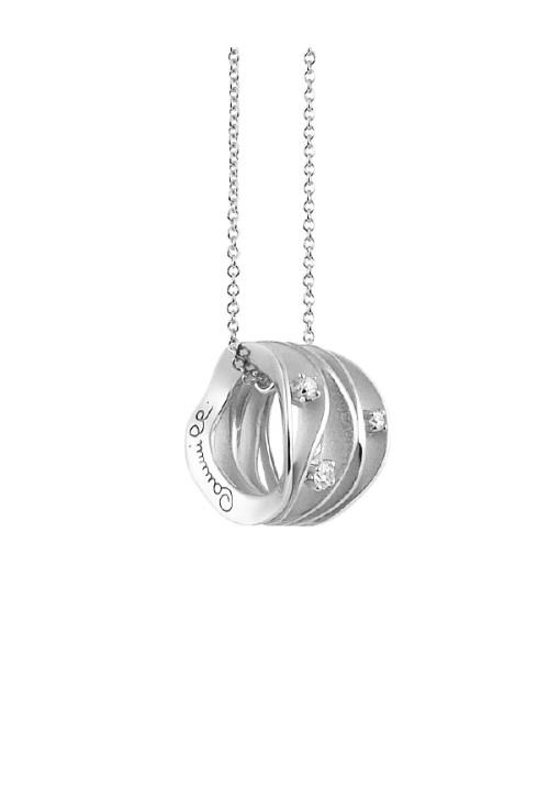 Annamaria Cammilli - Collana in Oro Bianco 18 Kt con tre diamanti | Dune Collection