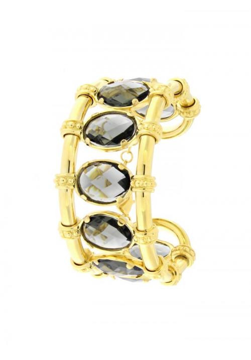 Bracciale rigido dorato con cristalli - Federica Rossi - Modello Queen