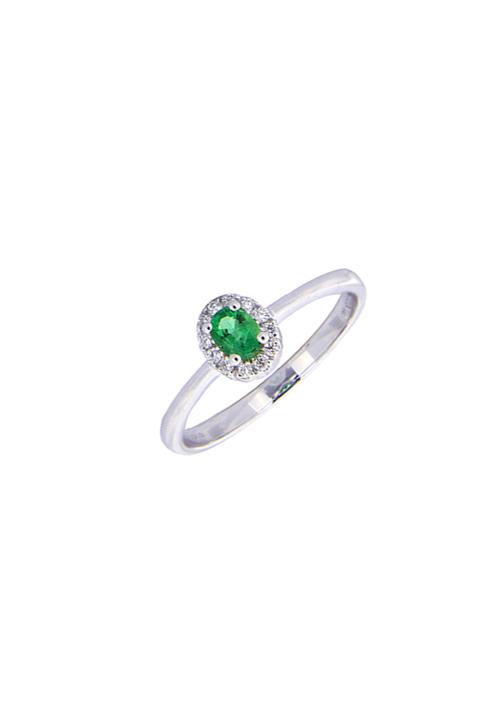 Giorgio Visconti - Anello smeraldo naturale con contorno diamanti - ab15728s