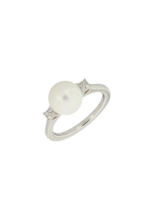 Giorgio Visconti - Anello perla 9 mm naturale e diamanti - ab16196