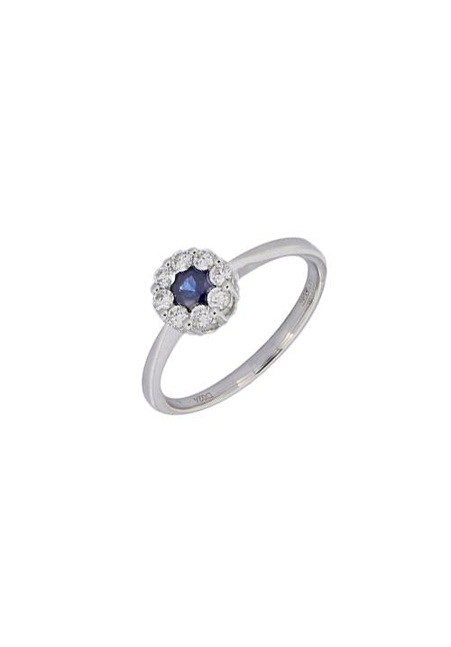 Giorgio Visconti - Anello zaffiro naturale con contorno diamanti - abx15038z