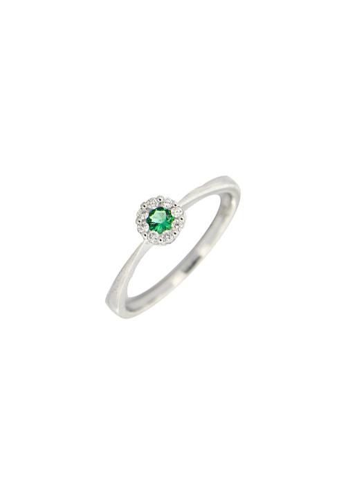 Giorgio Visconti - Anello smeraldo naturale con contorno diamanti - abx15041s