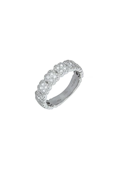 Giorgio Visconti - Anello a fascia con disegno a fiore multi pietra oro bianco e diamanti - carati 0.70