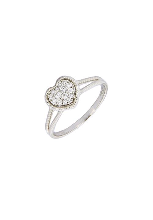 Giorgio Visconti - Anello oro bianco e diamanti forma di cuore - carati 0.20
