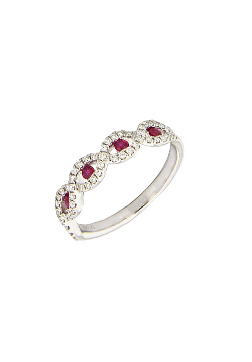 Giorgio Visconti - Anello veretta rubini naturali con contorno diamanti - abx16054r