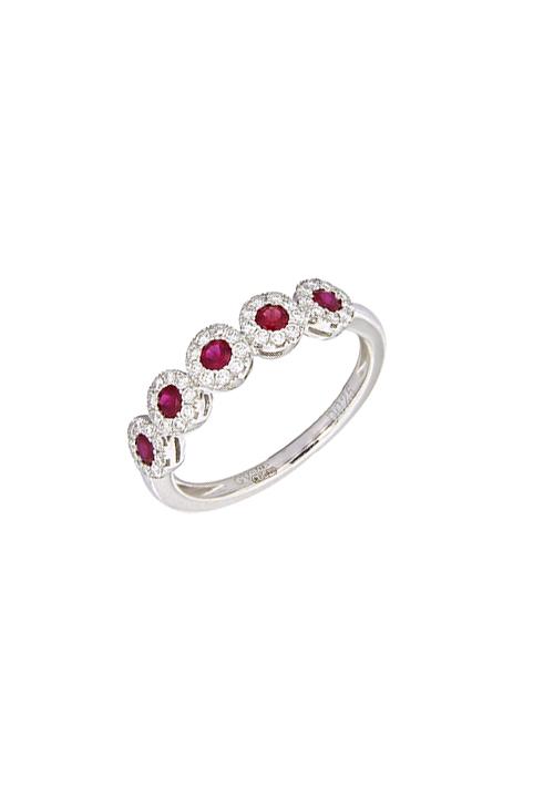 Giorgio Visconti - Anello veretta rubini naturali con contorno diamanti - abx16495r