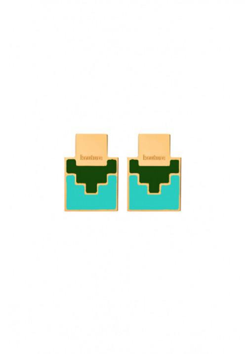 Orecchini Francesca Bianchi Design Collezione Kouture - Quadrati - Verde e Turchese - orkou22