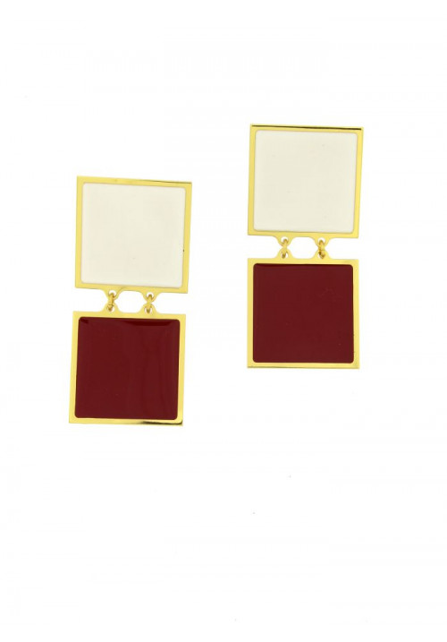 Orecchini Francesca Bianchi Design Collezione Kouture - Pendenti Rosso e Bianco - orkou37