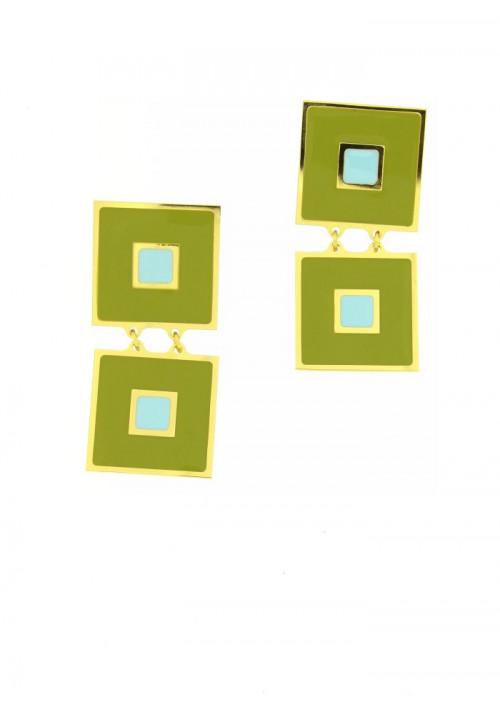 Orecchini Francesca Bianchi Design Collezione Kouture - Pendenti - Verde Acido e Turchese - orkou39