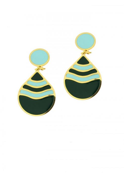 Orecchini Francesca Bianchi Design Collezione Kouture - Pendenti goccia - verde e turchese - orkou41
