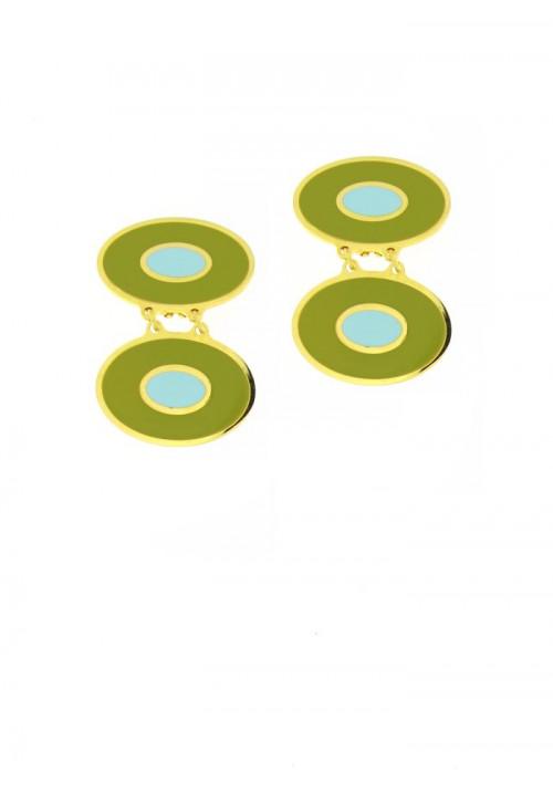 Orecchini Francesca Bianchi Design Collezione Kouture - Pendenti - Verde Acido e Turchese - orkou44