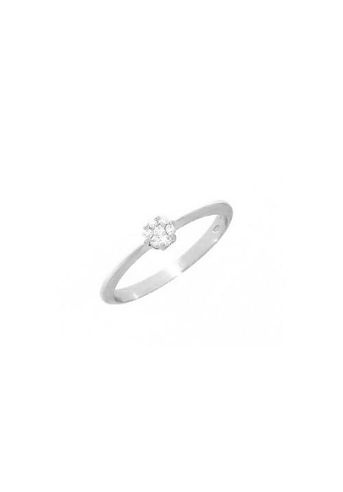 Mirco Visconti Anello Solitario - Oro Bianco 18 Kt e Diamanti Carati 0.07