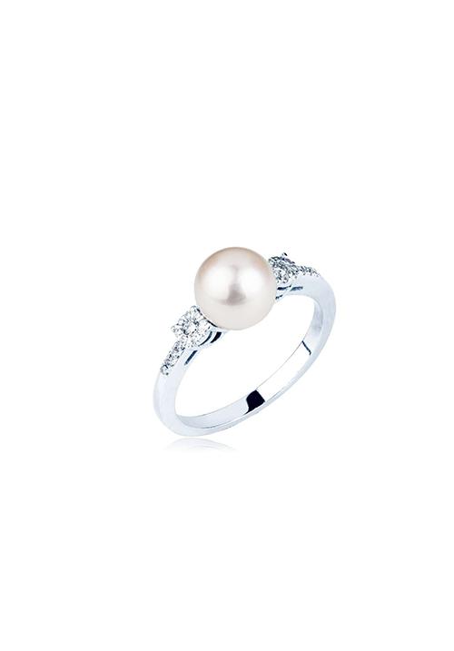 Mirco Visconti Anello Con Perla  - Oro Bianco 18 Kt e Diamanti Carati 0.13
