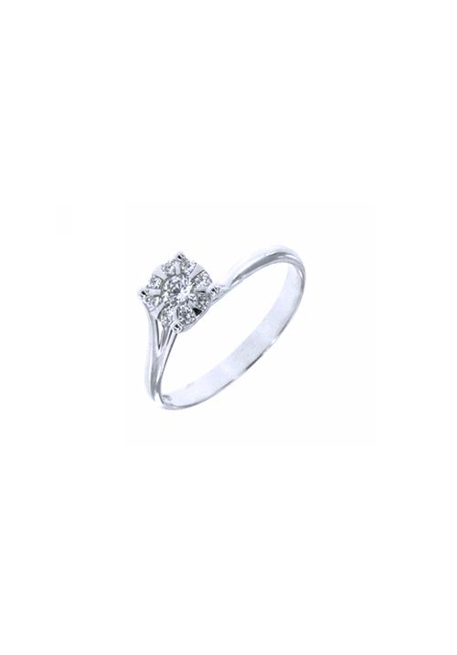 Mirco Visconti Anello Solitario AB967 - Oro Bianco 18 Kt e Diamanti Carati 0.07