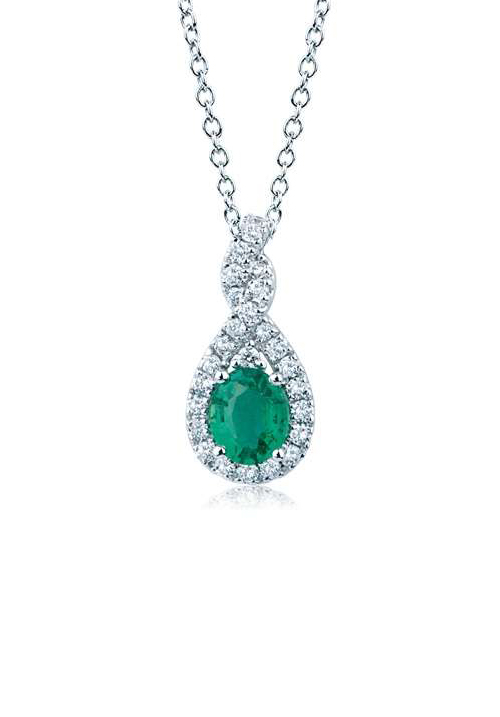 Mirco Visconti Collana con Smeraldo - Oro Bianco 18 Kt e Diamanti Carati 0.14