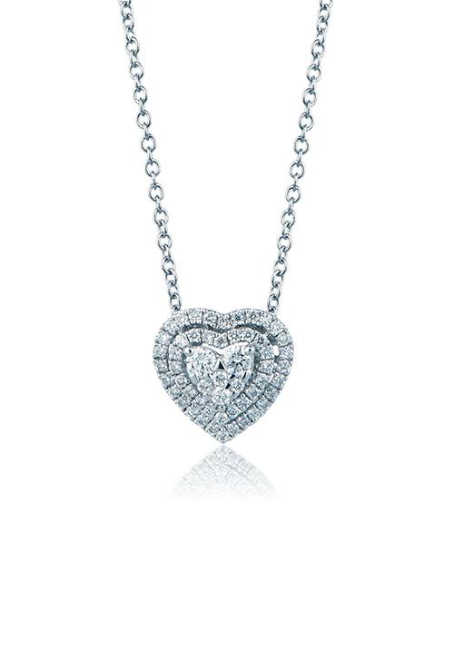 Mirco Visconti Collana con pendente Cuore - Oro Bianco 18 Kt e Diamanti Carati 0.23