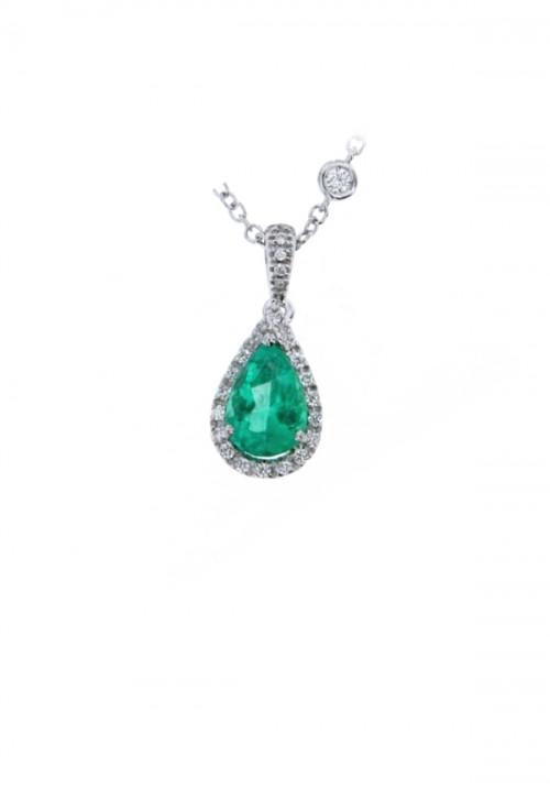 Mirco Visconti Collana con Smeraldo a Goccia - Oro Bianco 18 Kt e Diamanti Carati 0.23