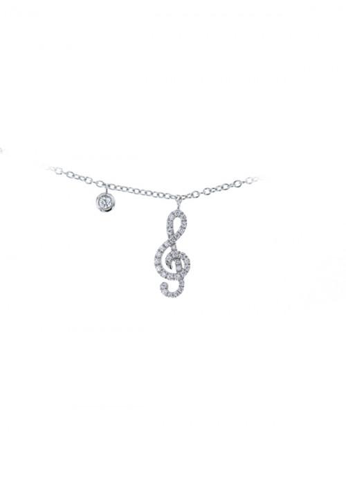 Mirco Visconti Collana con pendente Nota Musicale - Oro Bianco 18 Kt e Diamanti Carati 0.10