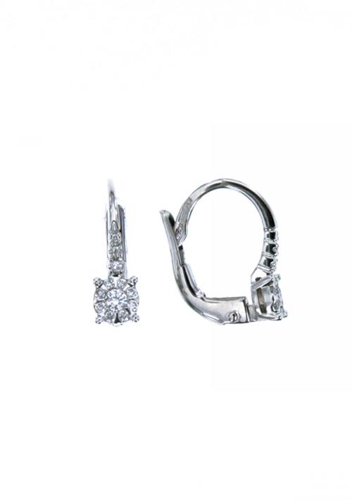 Mirco Visconti Orecchini  Punto Luce - Oro Bianco 18 Kt e Diamanti Carati 0.13