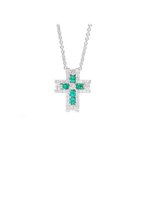 ReCarlo Collana Girocollo Croce Smeraldi  - Oro bianco 18 Kt e diamanti Carati 0.50