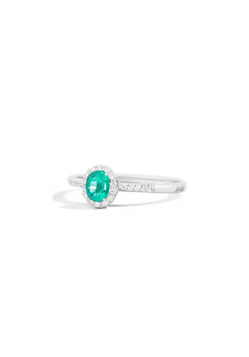 ReCarlo Anello con Smeraldo  - Oro bianco 18 Kt e Diamanti carati 0.10