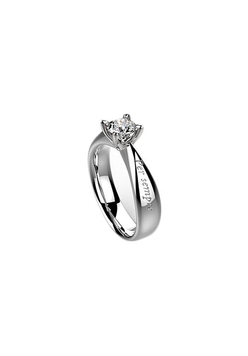 Recarlo Anello Solitario Florence - Oro Bianco 18 Kt e Diamante Carati 0.30