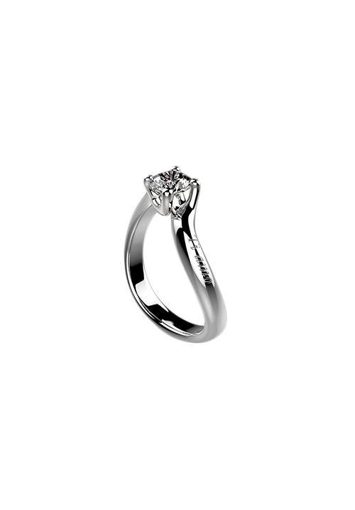 Recarlo Anello Solitario Florence Valentine - Oro Bianco 18 Kt e Diamante Carati 0.30