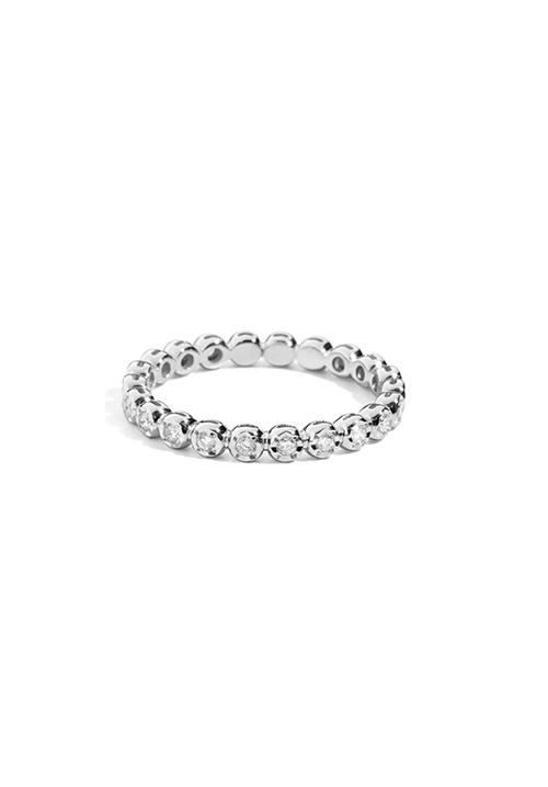 ReCarlo Anello Veretta Girodito - Oro bianco 18 Kt e Diamanti Carati Totali 0.30
